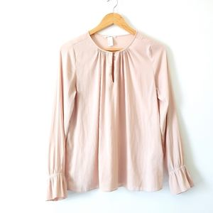 H&M Keyhole Neck Cinched Cuff Blouse
